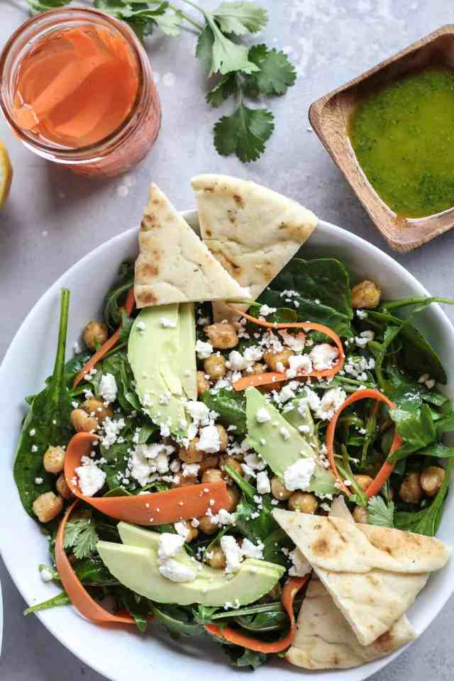 Pickled Carrot, Avocado, and Crispy Chickpea Salad