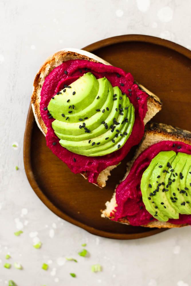 Beet Hummus Avocado Toast | pumpkin + peanut butter #hummus #beet #avocadotoast #avocado