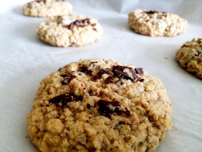 oatmeal choc chunk cookies on sheet