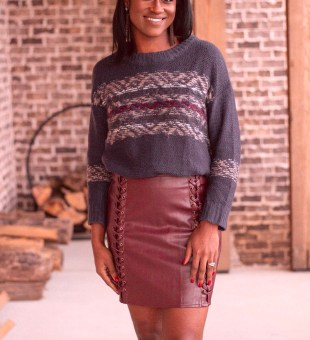 Chunky Sweater + Leather Mini