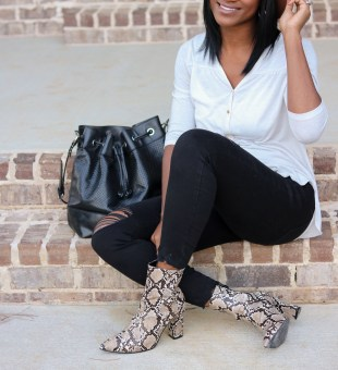 Distressed Denim + Snakeskin Ankle Boots