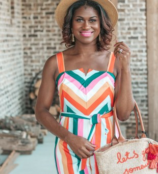 Bright + Colorful Striped Jumpsuit!