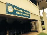 Welcome sign on the Science Center. Punahou74's gift check will be presented here.