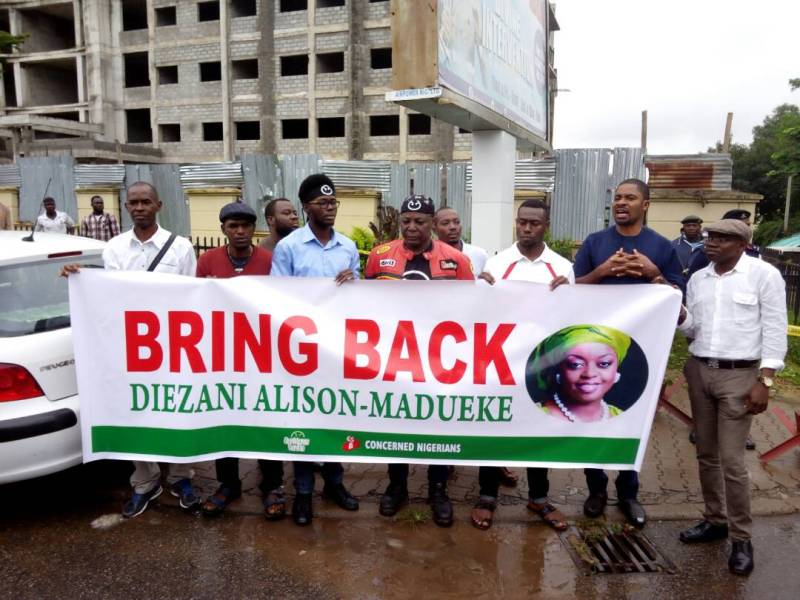 Image result for Police barricade the entrance of EFCC offices in Abuja as OurMumuDonDo protesters stormed the place demanding the repatriation of former minister of petroleum, Diezani Allison-Madueke. Photo olatunji obasa