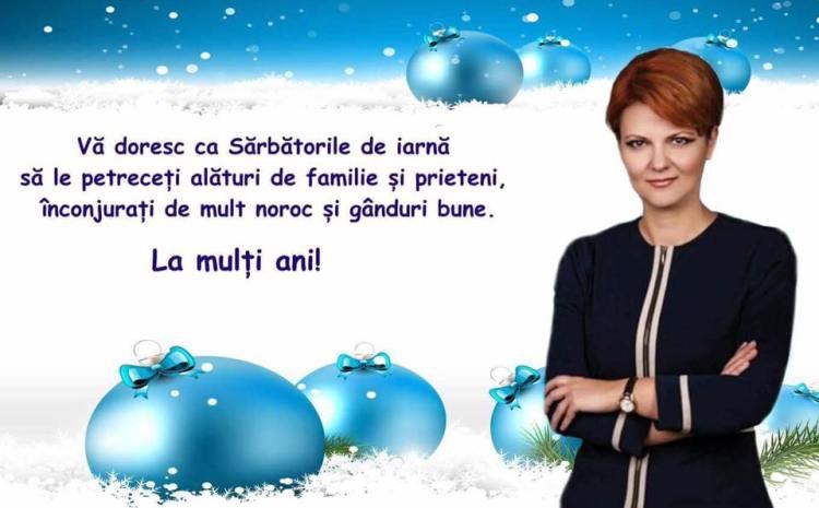 Lia Olguța Vasilescu: Mult noroc și gânduri bune. La mulți ani!