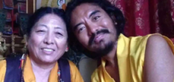 Mingyur Rinpoche with Mother