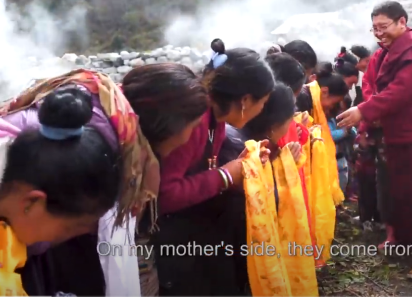 Villagers pay their respects to Tsoknyi Rinpoche