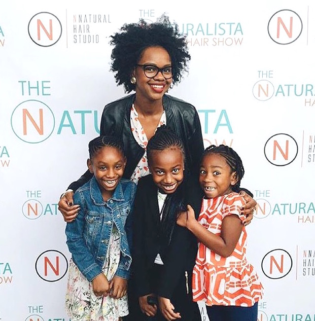 Crystal, her daughter, and some other lovely young ladies, at a natural hair show
