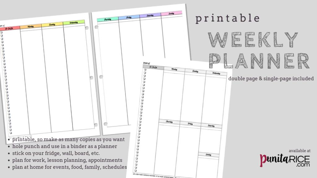 printable weekly work planner
