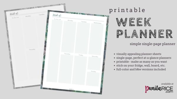 Printable Week Planner - Single Page Printable