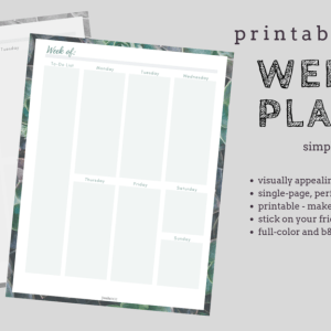 Printable Week Planner - Single Page Printable