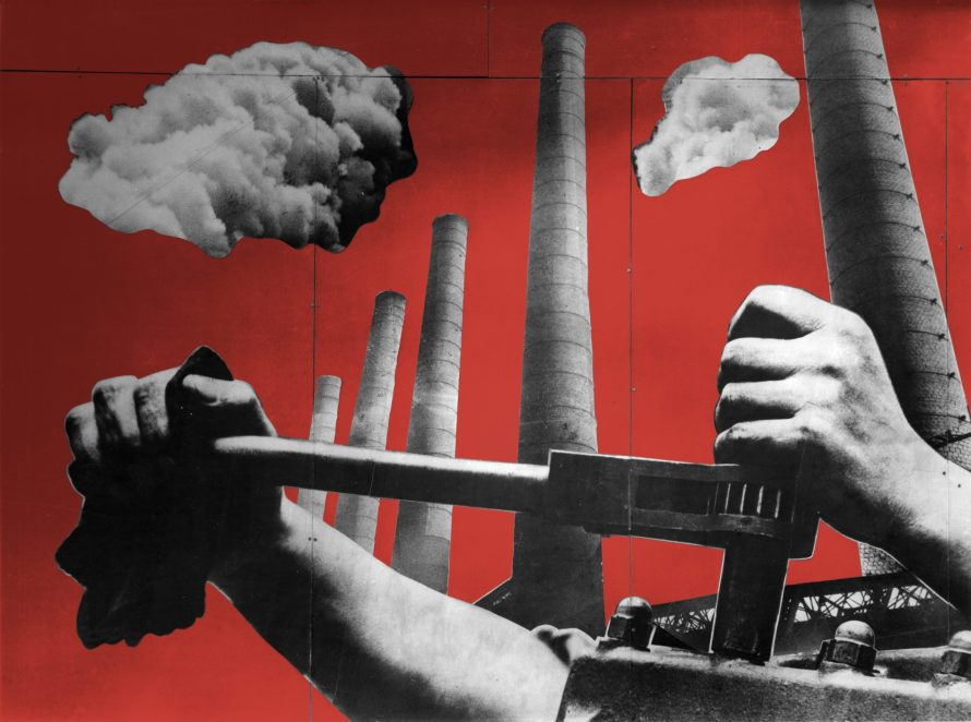 Charlotte Perriand, Fernand Léger, photomontage for the Ministry of Agriculture pavilion, International Exhibition of Art and Technology in Modern Life, Paris, 1937. Panel to the right of the entrance, Industrial France. Contemporary recreation of period colors. Charlotte Perriand archives.
