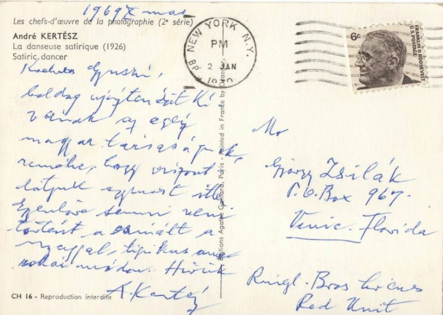 André Kertész 1969-ben írt képeslapja