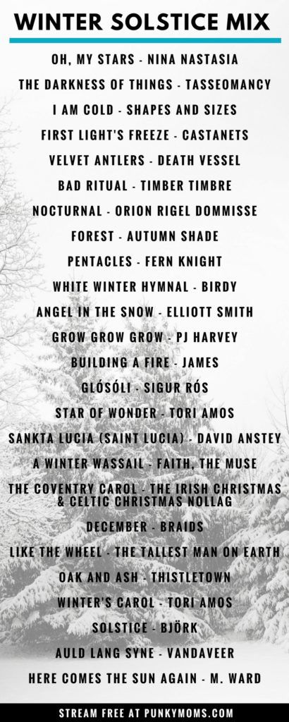 A winter solstice music playlist. A seasonally witchy mixtape for your midwinter celebrations.