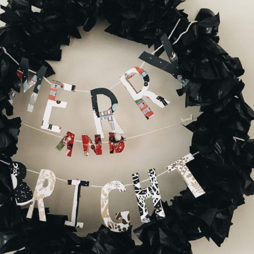 DIY Christmas Wreath from old Christmas cards