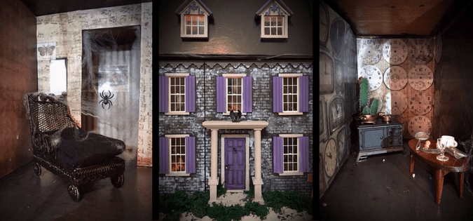 Carolyn has given her childhood dollhouse a makeover with this beautiful revamp into a goth dollhouse. Perfect to be put on display this Halloween season.