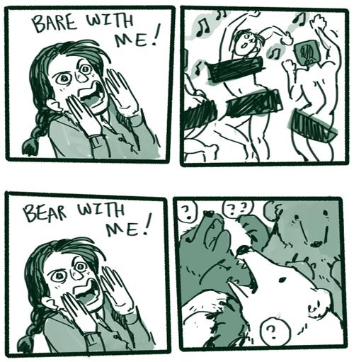 bear puns comic, bare, naked