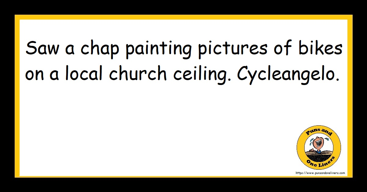 Saw a chap painting pictures of bikes on a local church ceiling. Cycleangelo.
