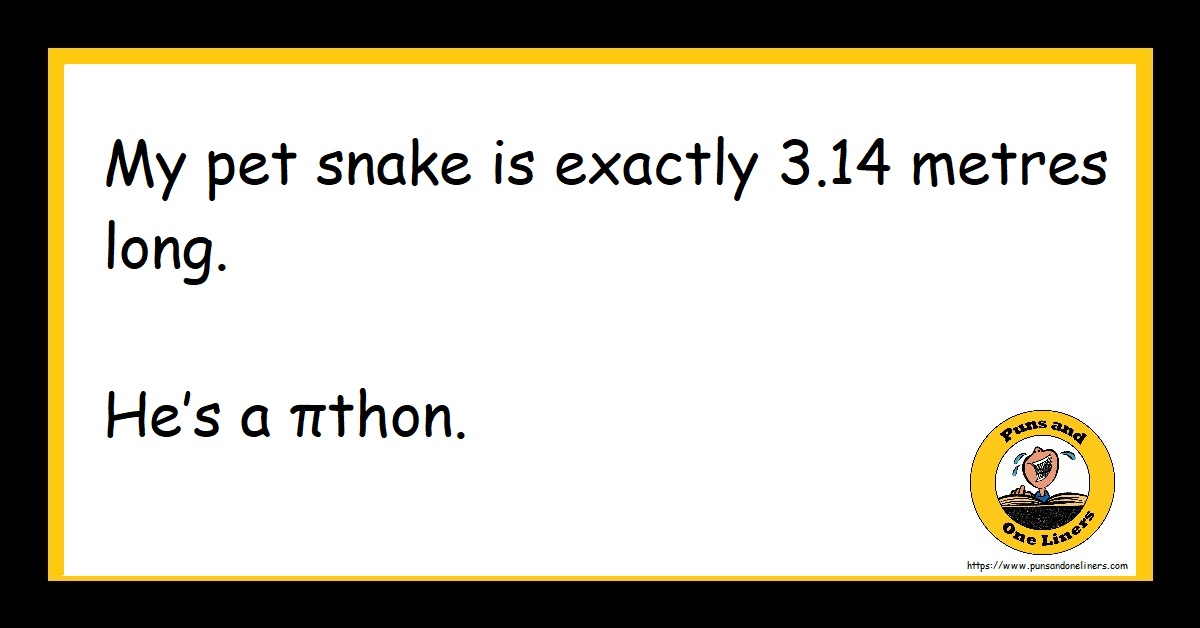 My pet snake is exactly 3.14 metres long. He's a πthon.