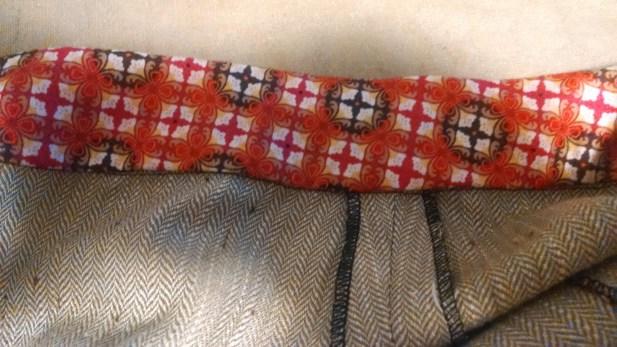 Quilt cotton waistband facing. Serged edges on side seam