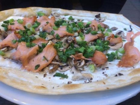 Tarte Flambe with Smoked salmon and cream cheese