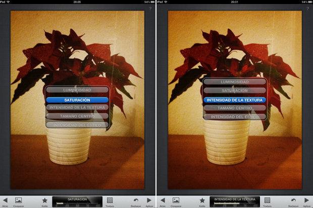 saturación- intensidad de la textura en snapseed
