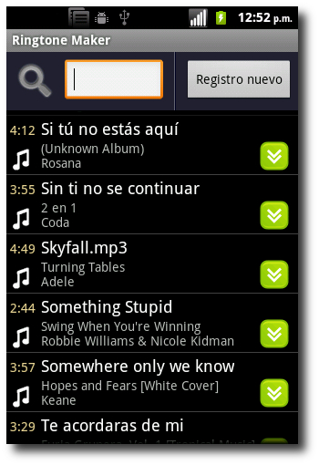 Lista Canciones Ringtone Maker