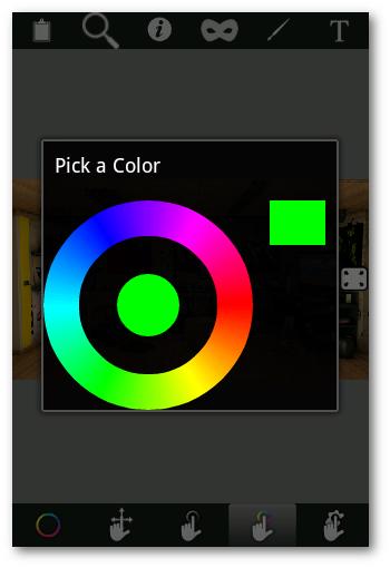 interfaz de edición Color Booth