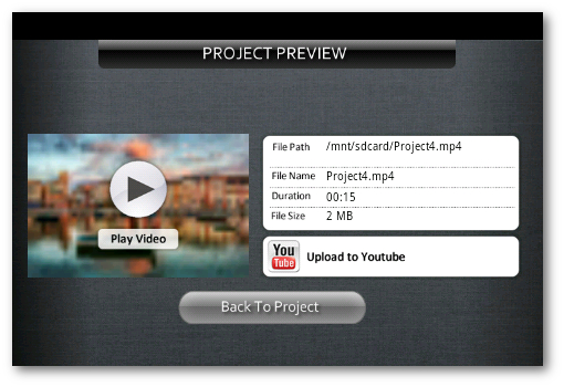 vista previa de Andromedia para subir videos a YouTube desde Android