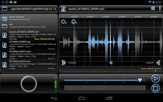 RecForge Pro, grabadora de sonido de alta calidad para Android