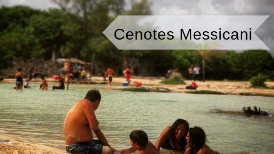 cenotes messicani scritta con spiaggia e persone