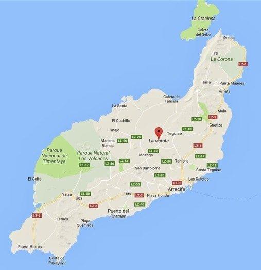 cartina dell'isola selvaggia di lanzarote