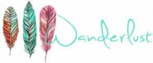 scritta wanderlust con tre piume di diverso colore