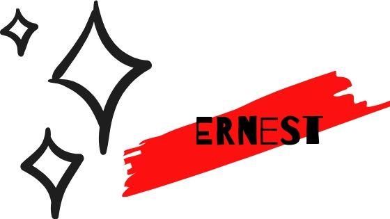 compagnia aerea ernest scritto su sfondo bianco con stelle nere