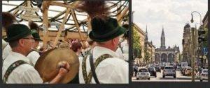 tedeschi coi vestiti tipici e veduta di monaco