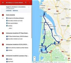 schermata dell'itinerario su google my maps