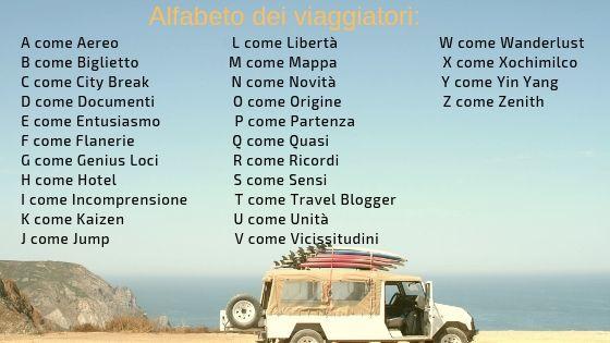 l'alfabeto dei viaggiatori completo con immagine di jeep in viaggio