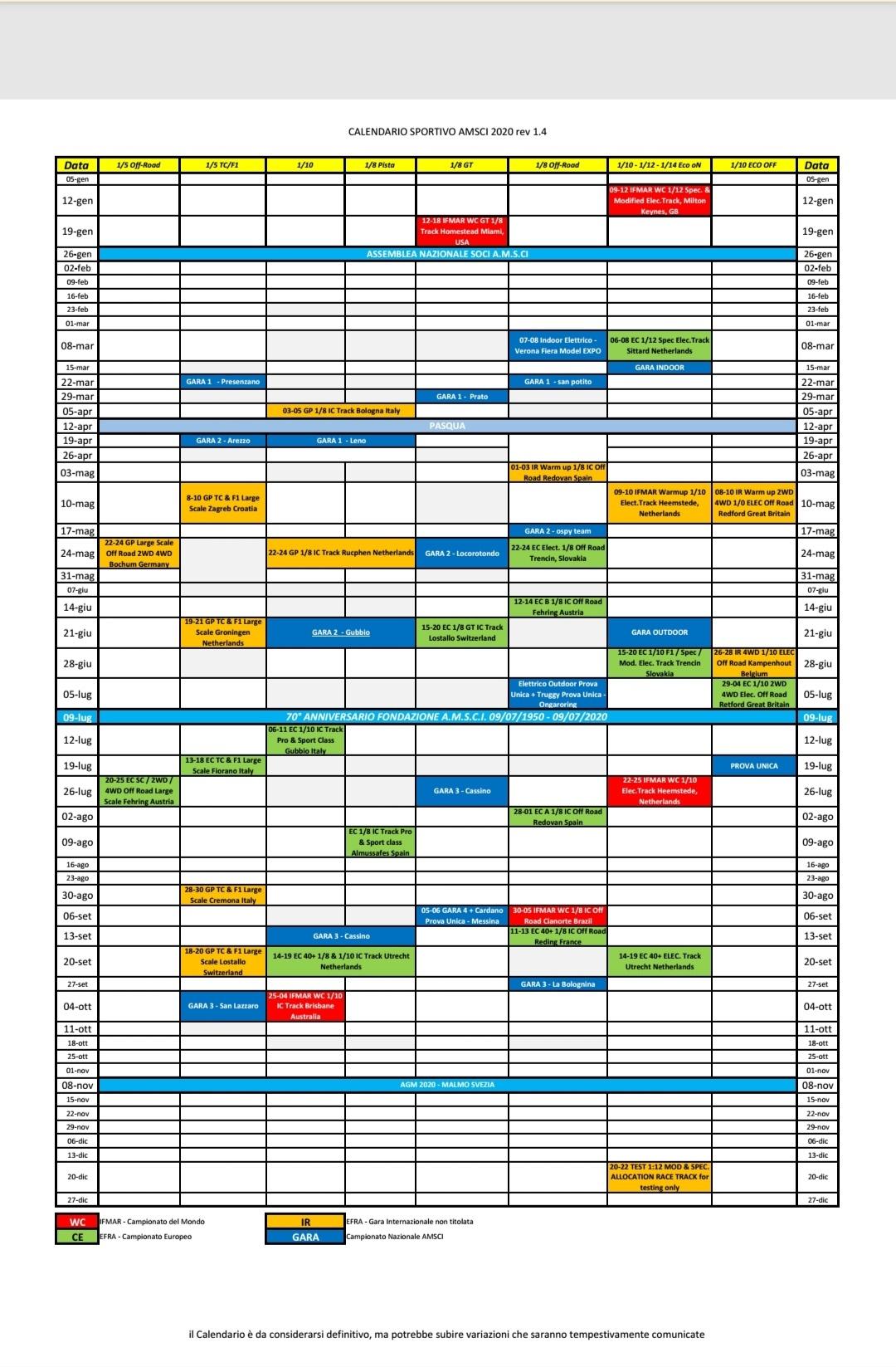 Calendario AMSCI
