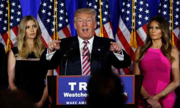 Donald Trump speaks at a campaign event earlier this year as in daughter, Ivanka, and his wife, Melania, continue to support the foul-mouthed Republican nominee. Photograph: Carlo Allegri/Reuters
