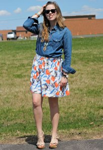 chambray-top-orange-floral-skirt