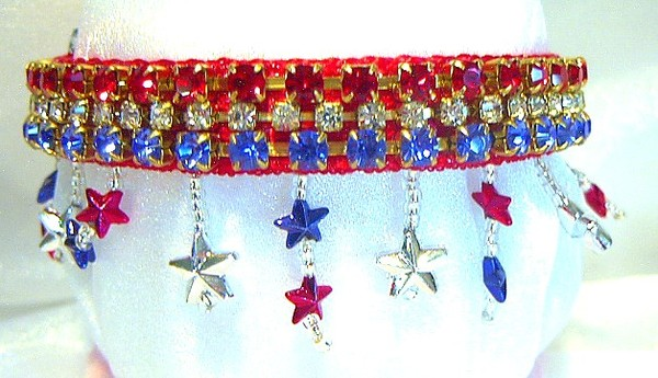 Red, white and blue jeweled dog collar