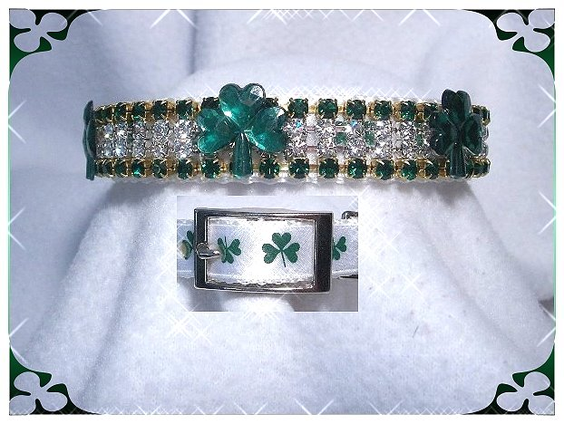 Shamrock sparkle rhinestone dog collars