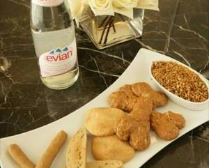 dog treats and evian water