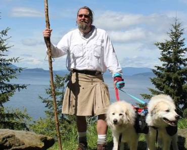 Man Walking His Two Great Pyrenees From Canada to Mexico For Canine Cancer