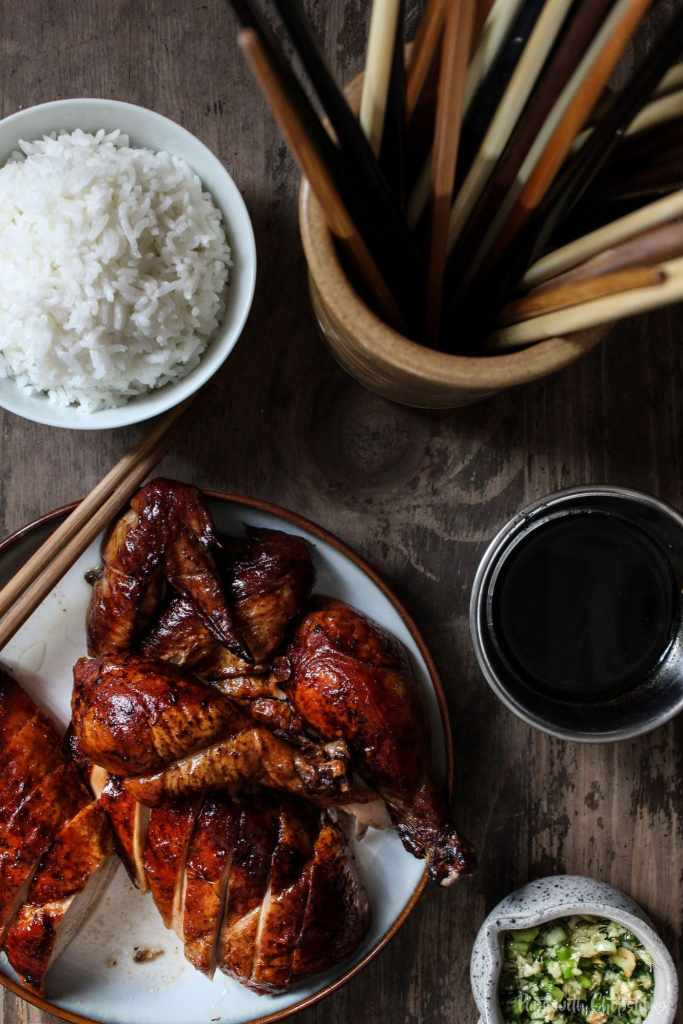 A cross between a roasted chicken & peking duck, this peking chicken recipe is for days when you have that craving for peking duck but chicken is all you have to work with. #chicken #easy #chickendinner #pekingchicken #dinner #chinesefood #ovenroasted #baked