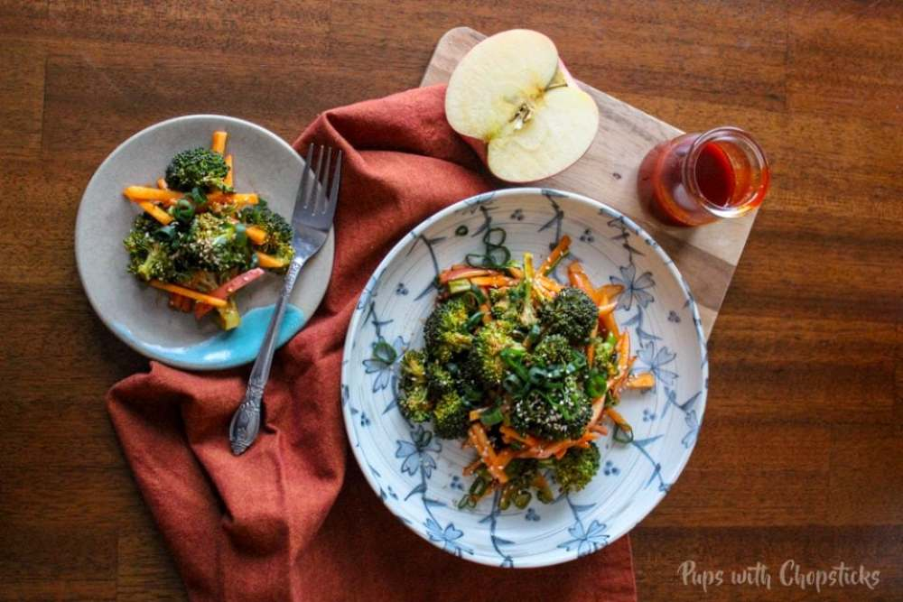 Apple Broccoli Salad + Sweet & Spicy Gochujang Dressing