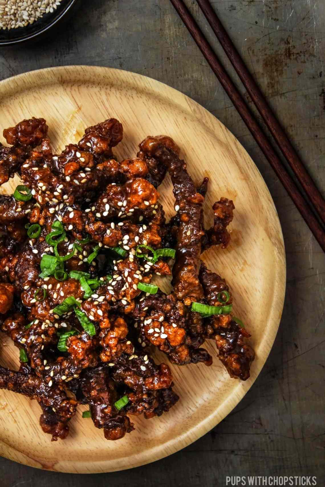 Sweet and Sticky Crispy Beef - Pups with Chopsticks
