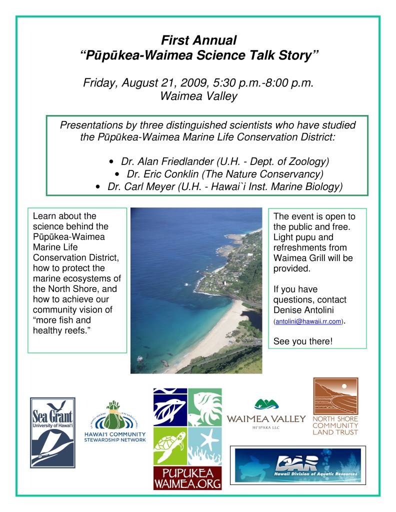 Pupukea-Waimea---Science-Talk-Story---Flyer---Aug-21,-2009