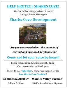 SPECIAL MEETING ON SHARKS COVE DEVELOPMENT