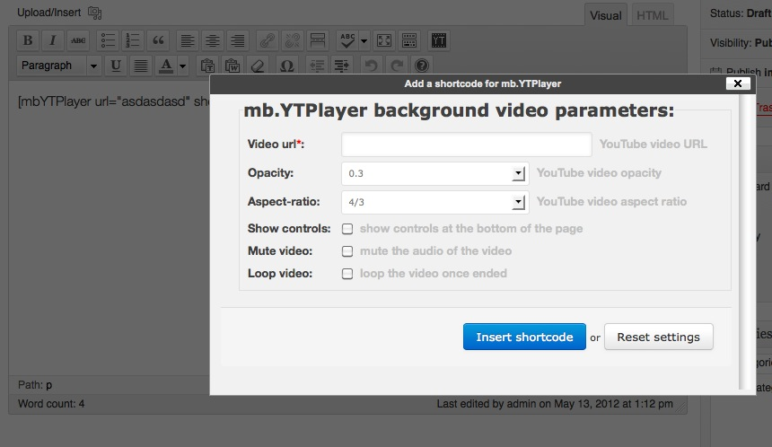 The WordPress mb YTPlayer plugin has been updated to v  0 5 | Pupunzi